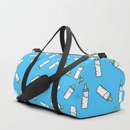 Blue baby feeding bottle pattern Duffle Bag