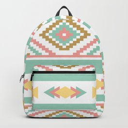 Abstract Tribal Native Geometric Pattern - Bohemian Festival Colorful Backpack