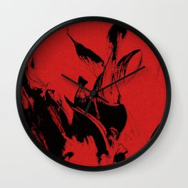 Black and red, abstract flames pattern Wall Clock