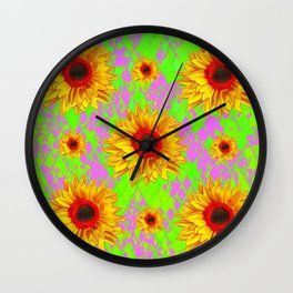 Scarlet Centered Sunflower Lilac-Chartreuse Art Wall Clock