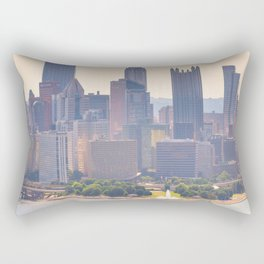 Pittsburgh Downtown Steel City Skyline Point State Park Fountain Print Rectangular Pillow