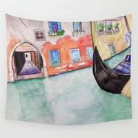 italy Wall Tapestries featuring Italy Watercolor by aToby