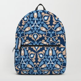 Blue arabic pattern design with light oriental lines Backpack
