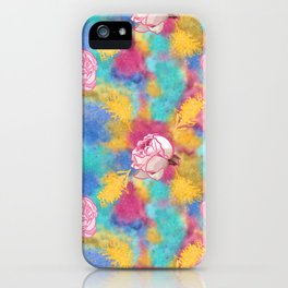 Glitter and Floral Pattern iPhone Case