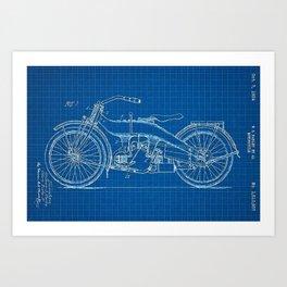 1919 Blue Horizontal Motorcycle Patent Blueprint Art Print