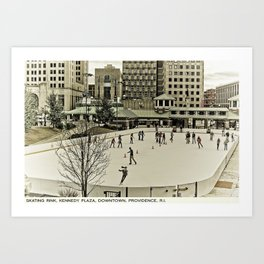 Providence Postcard Project: Skating Rink, Kennedy Plaza, Downtown Art Print