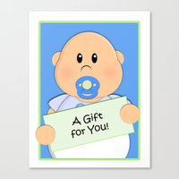 gift card Canvas Prints featuring A Gift for You by Fat Baby Expressions