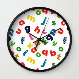 colourful alphabet Wall Clock