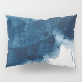 Where does the dance begin? A minimal abstract acrylic painting in blue and white by Alyssa Hamilton Pillow Sham