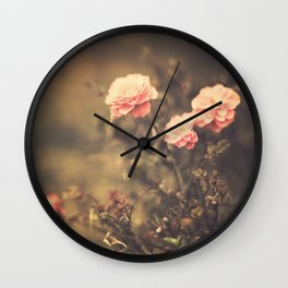 Romantic Vintage Roses (Vintage Flower Photography) Wall Clock
