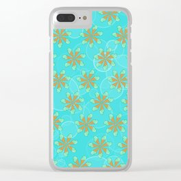 Mint Chip Flowers Clear iPhone Case