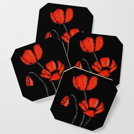 Red Poppies On Black by Sharon Cummings Coaster