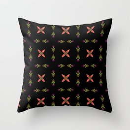 Floral On Black Throw Pillow