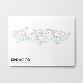 Kirkwood Mountain Resort, CA - Minimalist Trail Art Metal Print