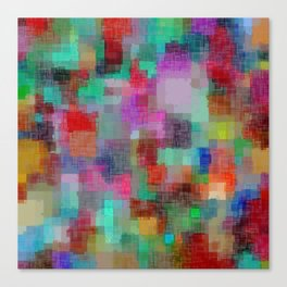 geometric square pixel pattern abstract in green blue red pink purple Canvas Print