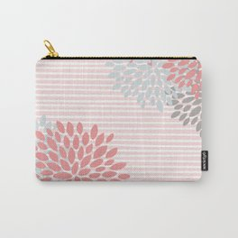 Floral Prints and Colorful Stripes, Coral and Gray, Colour Prints Carry-All Pouch