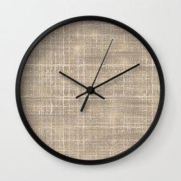 Beige Taupe Brown Jute Burlap Textile Pattern Wall Clock