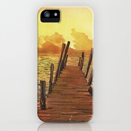 Watercolor painting of sunset over water & volcanoes of Lake Atitlan at sunset- Guatemala. iPhone Case