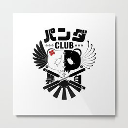 Panda Club Logo Design (Black) Metal Print