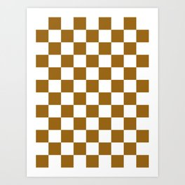 Checkered - White and Golden Brown Art Print