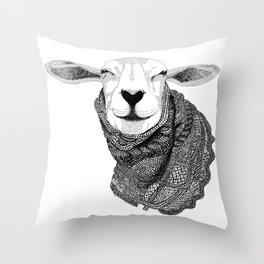 Knitting Sheep Throw Pillow