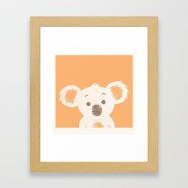 Koala Illustration Orange Background Framed Art Print