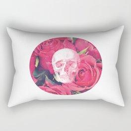 Vintage White Skull Grunge Pink Roses Rectangular Pillow