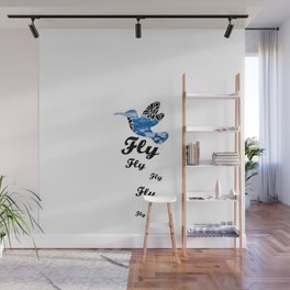 Flying Bird with Clouds Wall Mural