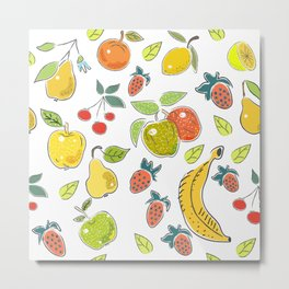 Seamless Pattern with fruits. Scandinavian Style. Metal Print