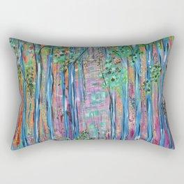 Teal Blue Abstract Forest Landscape, Forest Secrets, Fantasy Fairy Art Rectangular Pillow