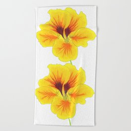 Indian cress flower - illustration Beach Towel