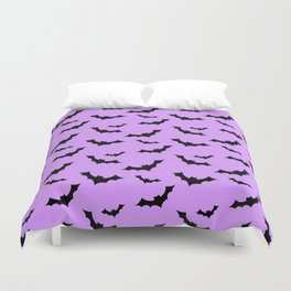 Black Bat Pattern on Purple Duvet Cover