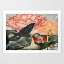 Water Faerie with Crow Art Print