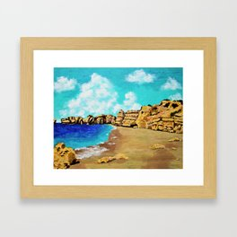 Beach In Albufeira, Portugal by Mike Kraus - seascape beach europe swimming cliffs sky clouds teal Framed Art Print