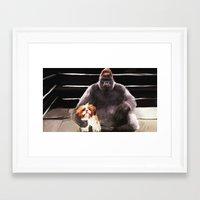 wrestling Framed Art Prints featuring Wrestling Gorillas by Rich Okun