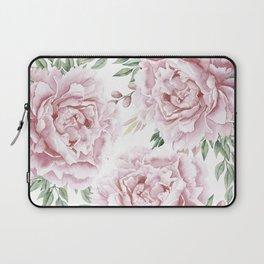 Girly Pastel Pink Roses Garden Laptop Sleeve