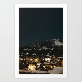 Starry Night in the Dolomites | Northern Italy, Cortina d'Ampezzo village lit up, Italy Travel Photography Art Print