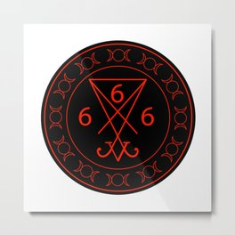 666- the number of the beast with the sigil of Lucifer symbol Metal Print