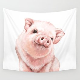 Pink Baby Pig Wall Tapestry