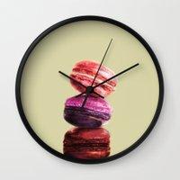 macarons Wall Clocks featuring macarons by Julian