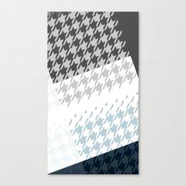 Modern Houndstooth Reinterpreted A – Navy / Gray / White Checked Pattern Canvas Print