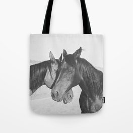 Horse Hug in Black and White Tote Bag
