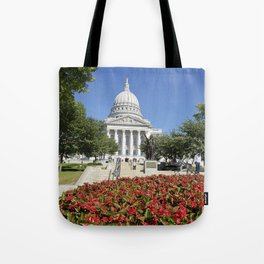 Capitol Building Madison Wisconsin from State Street Tote Bag