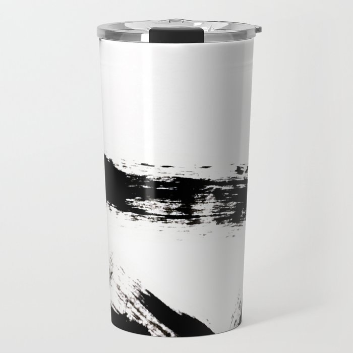 Brushstroke [8] - a simple, abstract, black and white india ink piece Travel Mug