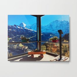 Swiss Alps Looking Glass Metal Print