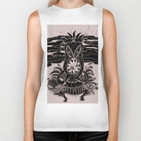 tiki Biker Tanks featuring Tiki lunch by CHAUCHE