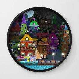 fantasy village by the sea Wall Clock