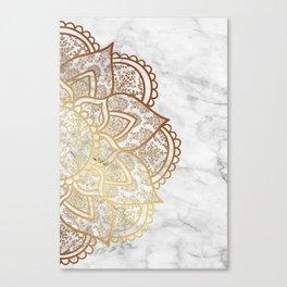 Mandala - Gold & Marble Canvas Print
