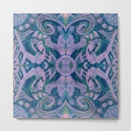 Summer Twilight, Bohemian Arabesque Pattern Lavender Indigo Curves Lotuses Metal Print