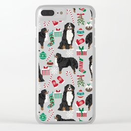 Burnese Mountain Dog christmas holiday festive mitten stockings dog gifts Clear iPhone Case
